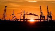 Zu sehen ist ein Sonnenuntergang hinter der Köhlbrandbrücke in Hamburg. © picture alliance / R. Goldmann Fotograf: Ralph Goldmann