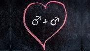 Zu sehen ist eine schwarze Tafel, auf die ein Kreideherz mit zwei Männlichkeitssymbolen darin gemalt wurde. © Lucas1989 / photocase.de Foto: Lucas1989