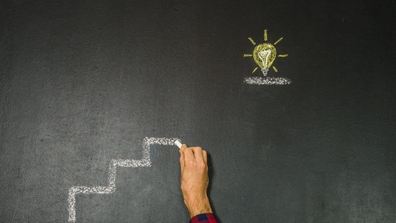 Ein Mann malt mit Kreide eine Treppe, oben ist eine Glühbirne gemalt. © David-W- / photocase.de Foto: David-W- / photocase.de