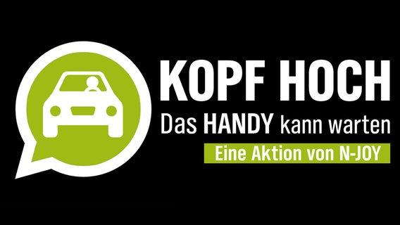 """Das Logo der N-JOY Aktion """"Kopf hoch. Das Handy kann warten."""" © NDR"""