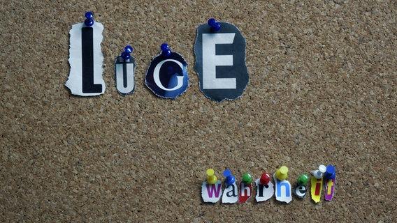 """Auf einer Pinnwand sind die Worte """"Lüge"""" und """"Wahrheit"""" angepinnt. © imago/Steinach Foto: Steinach"""