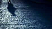 Ein Schatten auf Kopfsteinpflaster in der Nacht.