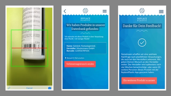 "3 Screenshots der App-Oberfläche ""Replace Plastic"""