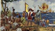 """Schulwandbild: """"Die Eroberung der Neuen Welt"""" durch Columbus © picture alliance / akg"""