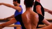 Der nassgeschwitze Rücken einer Balletttänzerin von hinten.