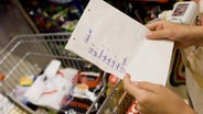 Eine Frau hält einen Einkaufszettel in den Händen © c) dpa - Report