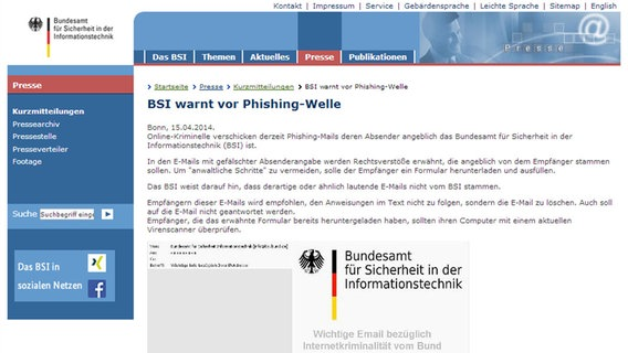 vorsicht phishing mail im bsi look n joy xtra netzwelt. Black Bedroom Furniture Sets. Home Design Ideas