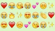 Eine Reihe unterschiedlicher Emojis. © Whatsapp Fotograf: Whatsapp