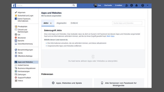 "Screenshot zeigt den Unterpunkt ""Apps und Websits"" in den Facebook-Einstellungen. © Facebook.com Foto: Screenshot"