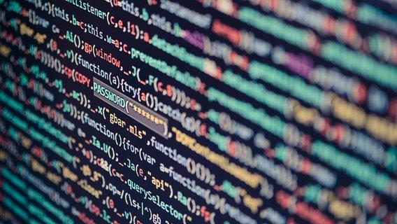 """Ein bunter abfotografierter Code auf einem Bildschirm. Im Fokus steht das Wort """"Passwort"""". © przemekklos / photocase.de Foto: przemekklos / photocase.de"""