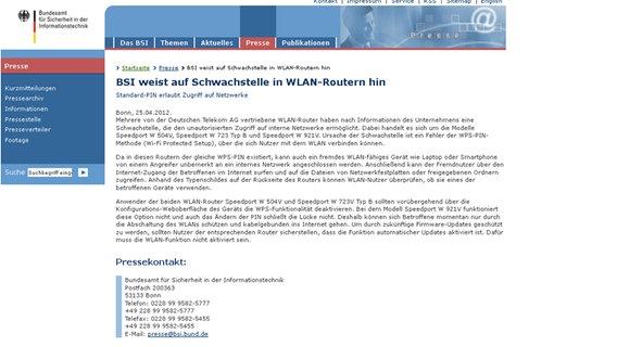 Das BSI weist auf die Schwachstellen der W-Lan-Router der Telekom hin. © Bundesamt für Sicherheit in der Informationstechnik Foto: Screenshot