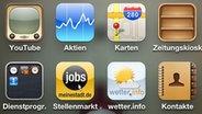 Screenshot zeigt Startseite der Job App von meinestadt.de