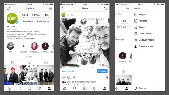 Screenshots zeigen: Die Instagram-App spricht nach Update englisch. © N-JOY / Instagram / Facebook Inc. Foto: Screenshot