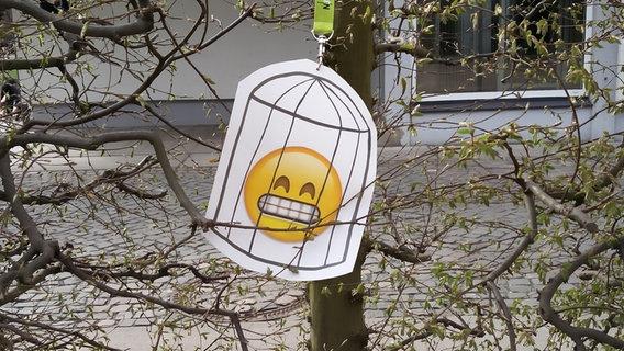 Emoji im Käfig © N-JOY Foto: Eva Köhler / Judith Böse