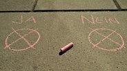 Mit Kreide auf den Boden geschrieben: Ja und Nein. © N-JOY Fotograf: Eva Köhler