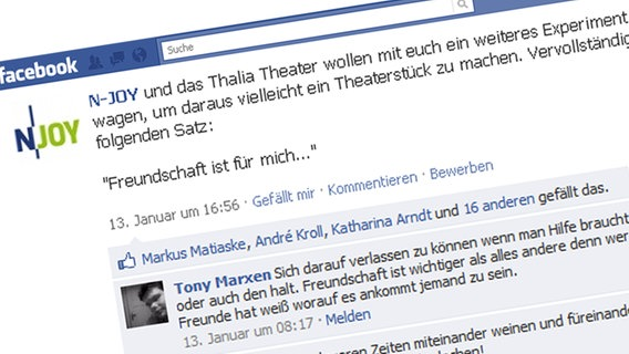 "Die ""Lessing 2.0""-Aktion auf N-JOYs Facebook-Profil. © NDR Fotograf: Screenshot"