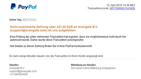 Screenshot einer Phishing-Mail von PayPal © N-JOY / NDR Fotograf: Screenshot