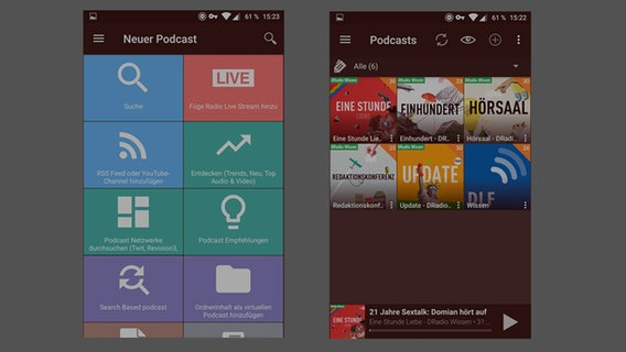 Screenshot Podcast-Apps © Hersteller Fotograf: Screenshot