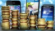Aufgestapelte Euromünzen, dahinter Smartphones (Bildmontage) © Fotolia.com Fotograf: Maksym Yemelyanov, Denis Junker