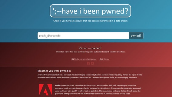 Screenshot der Suchmaschine haveibeenpwned.com © Screenshot