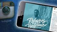 """Zu sehen ist das Instagram-Profilbild von Fotograf Paul Ripke mit einem Blauschleier und dem weißen Schriftzug """"Refugees Welcome"""". © instagram / paulripke Fotograf: Screenshot"""