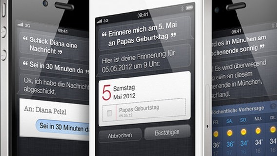 Das Bild zeigt mehrere iPhones mit Siri. © Apple