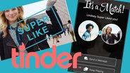 Zu sehen sind Screenshots der App Tinder und das Logo. © tinder Fotograf: Montage