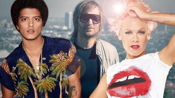 Bruno Mars,  David Guetta und Pink (Bildmontage) © Warner Music, EMI Foto: Kai Z. Feng, AndrewMcPherson