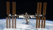 Eine Weltraumaufnahme der internationalen Raumstation ISS.