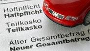 Ein Modellauto steht auf einer Mitteilung eines Autoversicherers © picture alliance / dpa