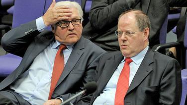 Der Vorsitzende der SDP-Bundestagsfraktion, Frank-Walter Steinmeier (l), und der ehemalige Bundesfinanzminister Peer Steinbrück © dpa