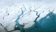 Das Bild zeigt zwei Flüsse in Grönland, die sich durch das Eis schlängeln. © Nasa Earth Observatory Fotograf: Maria-José Vinas
