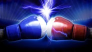 Zwei Boxhandschuhe prallen aufeinander, darüber ein Blitz (Bildmontage) © Fotolia.com Foto: efks, Santa Papa