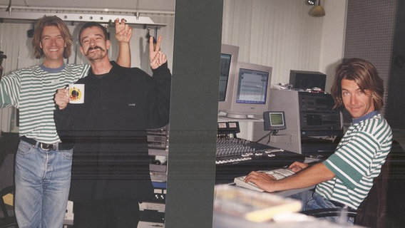 Ein Blick hinter die Kulissen bei N-JOY in den 90er Jahren: Klaus Wehmeyer und Lothar Thielen © N-JOY