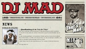 screenshot der Homepage von DJ MAD © http://www.djmadhamburg.de/