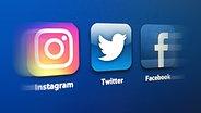 Das Logo von Instagram,Twitter und Facebook. © NDR
