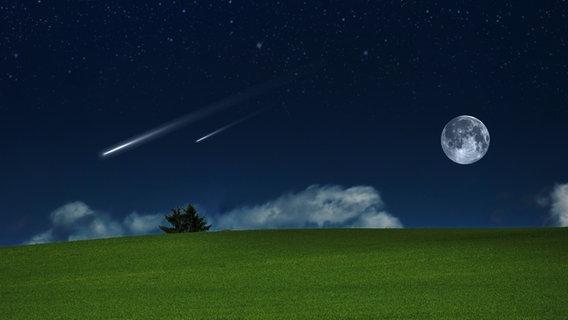 Sternschnuppen und der Mond am nächtlichen Himmel © fotolia.com Foto: Sergiogen