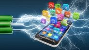 Smartphone mit Apps und Blitzen © fotolia.com Fotograf: Scanrail, Sergey Nivens