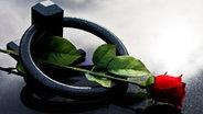 Rote Rose auf einem Grab © picture-alliance/chromorange